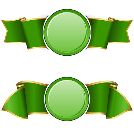 Green round frame with ribbon on white background Illustration
