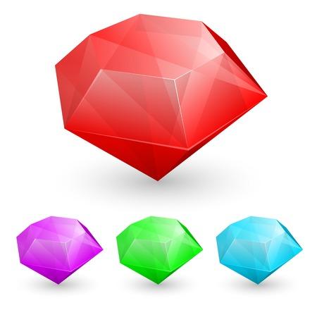emerald gemstone: Vector illustration of Set of gems in different color