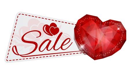 illustration of sale sticker with gem heart Vector