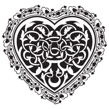 tatto: Abstract valentine day tatto heart with ornamental border