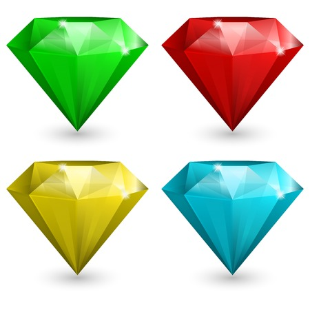 diamond: Vector illustration of Set of gems in different color