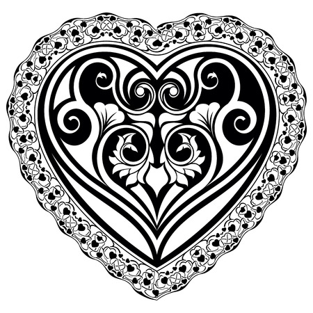 Abstract valentine day tatto heart with ornamental border