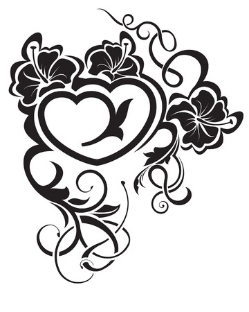 Vector illustration of valentine day floral design element
