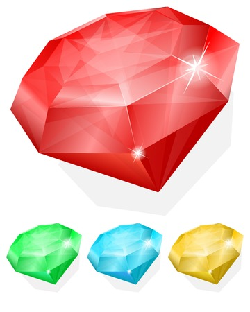 ruby gemstone: Vector illustration of Set of gems in different color