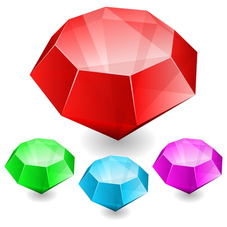faceting: illustration of Set of gems in different color