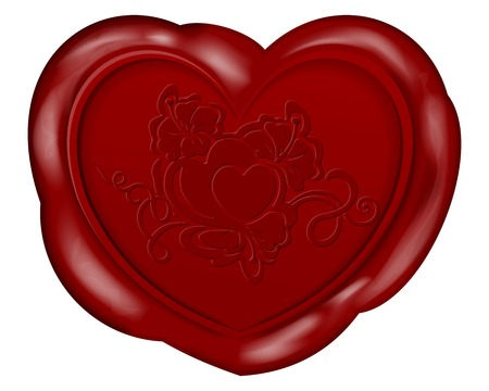 illustration of Heart shape wax seal for valentines day