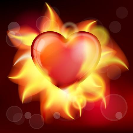 burning heart: Vector illustration red burning heart for valentines day