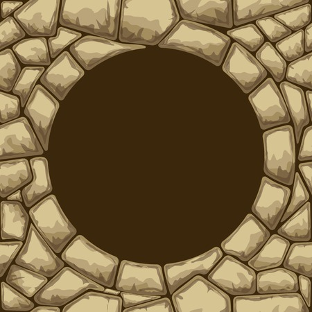 rubble: Round frame on simple brown stone seamless pattern