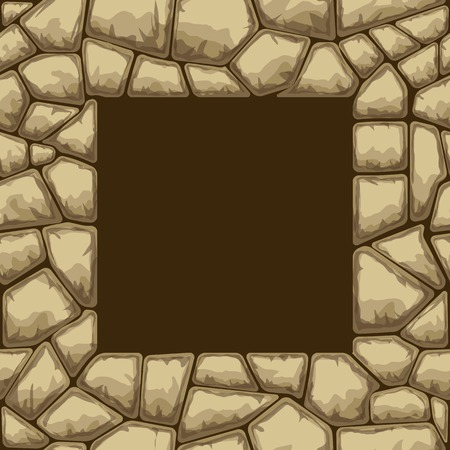 rubble: Square frame on simple brown stone seamless pattern