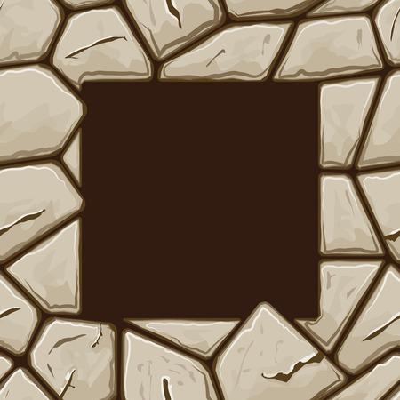rubble: Marco cuadrado en la simple piedra marr�n patr�n transparente Vectores