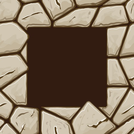 cobblestone: Square frame on simple brown stone seamless pattern