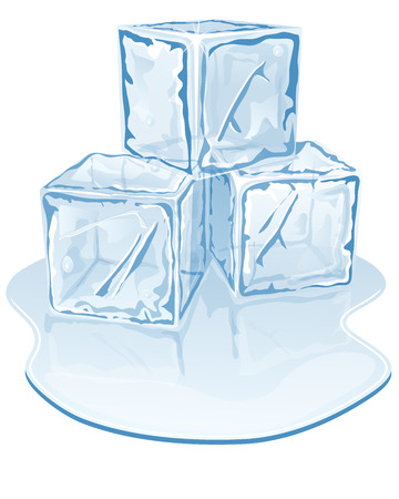 Vector illustration of blue half-melted ice cube pile Vector