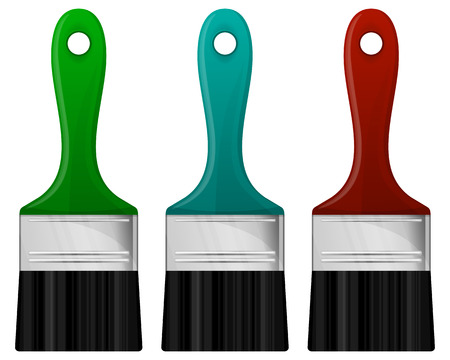 ilustration and painting: Collection of paintbrush in 3 color. Vector illustration