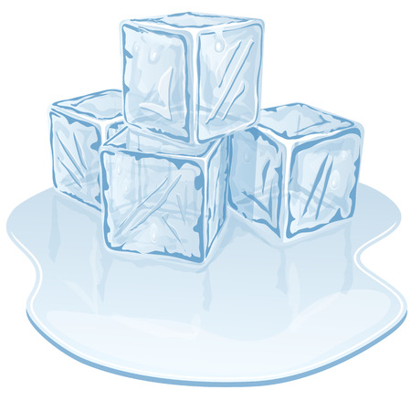 Blue half-melted ice cube pile. Vector illustration Vector