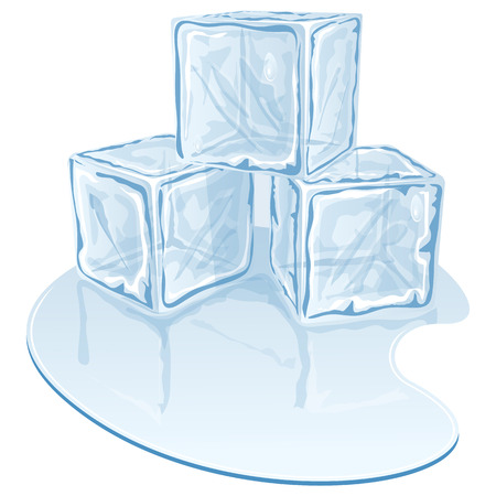 ice cube: Blue half-melted ice cube pile. Vector illustration