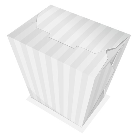 take out food container: Striped noodle box. Take away food. Vector illustration Illustration