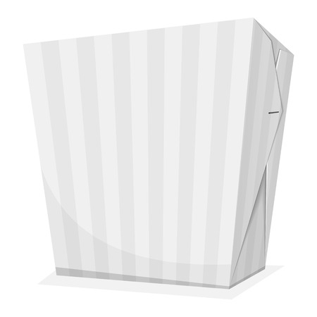 chinese take away container: Striped noodle box. Take away food. Vector illustration Illustration