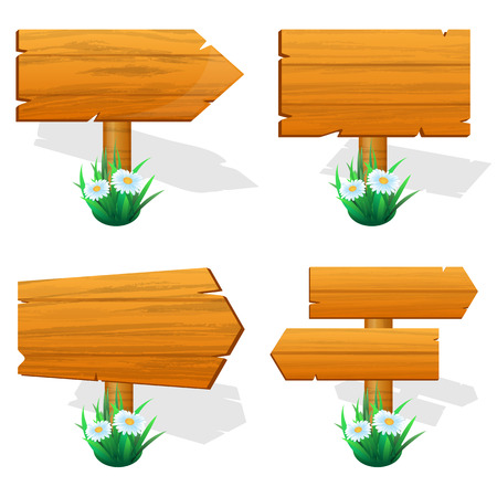 signpost: Signpost. wooden sign boards with flowers. Vector illustration