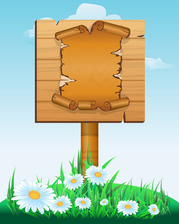 Signpost. wooden sign boards with old paper scroll . Vector illustration Vector