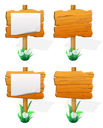 blank signs: Signpost. wooden sign boards with paper. Vector illustration Illustration