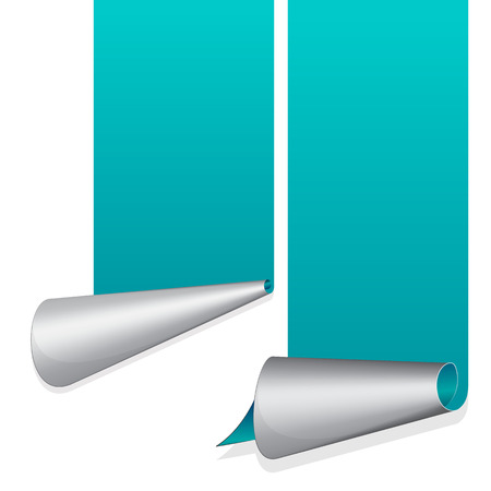 curled up: Turquoise sticker with curled up edge. Vector illustration