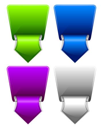 flechas curvas: Colección etiqueta con la flecha del amanecer en diferentes colores