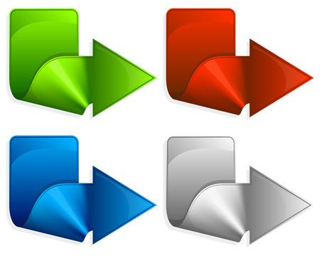 flechas curvas: Colección etiqueta con la flecha de color diferente