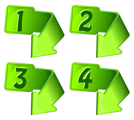numerals: Green icon with arrow and numerals. Vector illustration