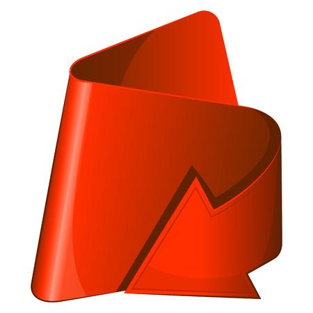 flechas curvas: Icono rojo con acurrucado flecha. Ilustración vectorial