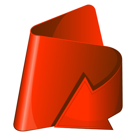 curled up: Red icon with curled up arrow. Vector illustration
