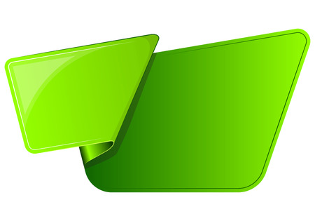 curled: Green sticker with curled up edge. Vector illustration