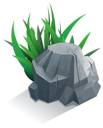 둥근 돌: Single granite stone with grass. Vector illustration 일러스트