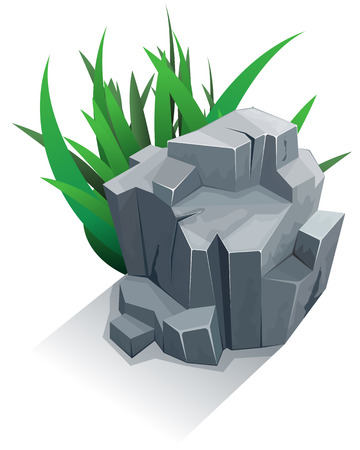 둥근 돌: 잔디와 단일 화강암 돌. 벡터 일러스트 레이 션 일러스트