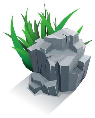 rock stone: Single granite stone with grass. Vector illustration Illustration