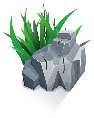 boulder: Single granite stone with grass. Vector illustration Illustration