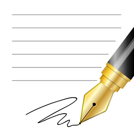 writing equipment: Close up of a fountain pen and signature
