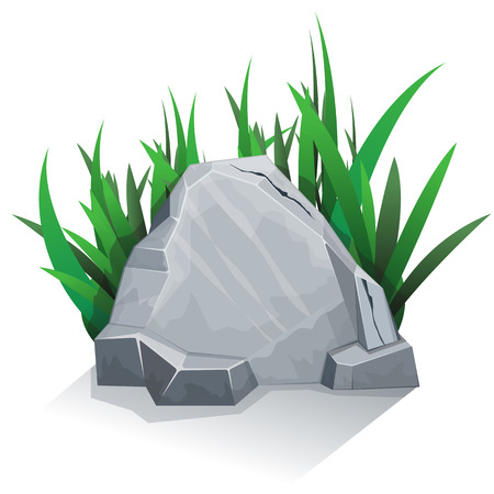 boulder: Single granite stone with grass.