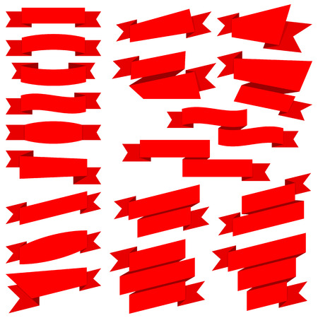 with sets of elements: Big collection red ribbons isolated on white background