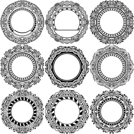 Big set of round black frame with ornamental border Illustration
