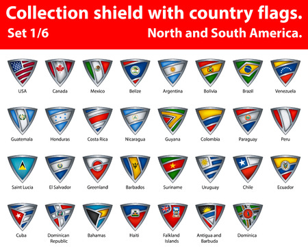 Collection shield with country flags. Part 1 of 6. North and South America.