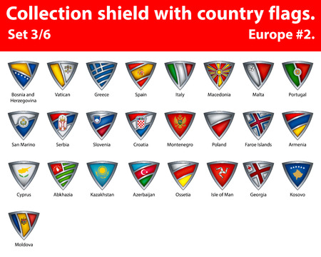 croatia flag: Collection shield with country flags. Part 3 of 6. Europe.