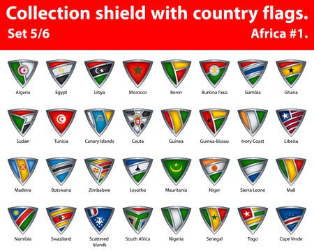 Collection schild met land vlaggen. Deel 5 van 6. Afrika.