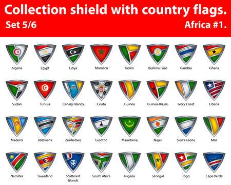 Collection shield with country flags. Part 5 of 6. Africa.