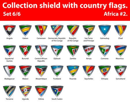 국가 플래그를 가진 컬렉션 방패입니다. 아프리카의 6 부. 스톡 콘텐츠