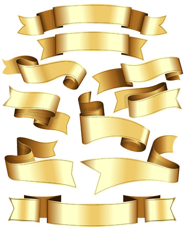large group of objects: Gold ribbon collection. Ten ribbon on white background. Illustration