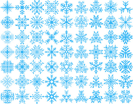 white winter: Big set of 63 vector snowflakes. Winter design element.