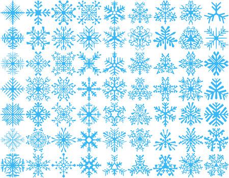 copo de nieve: Gran conjunto de 63 copos de nieve del vector. Elemento de diseño de invierno. Foto de archivo