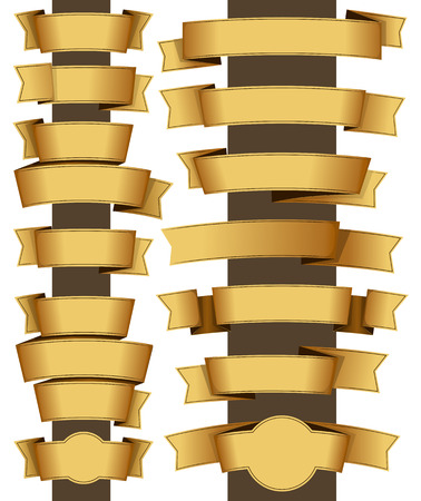 large group of object: Collection of fourteen gold ribbon. Vector illustration Illustration
