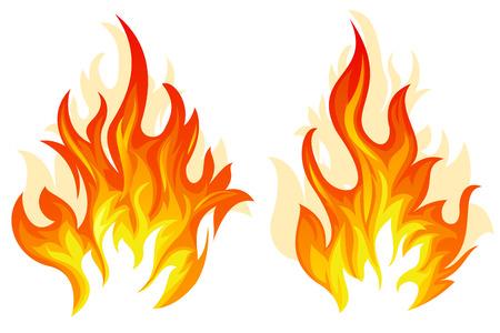 llamas de fuego: Juego de dos llamas diferente en el fondo blanco Vectores