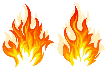 Set of two different flame on white background